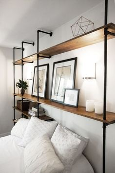 Would need a guard to block things from falling off the shelves, things like books. Industrial Wall Plumbing Pipe Shelves by ModernIndustrialCA Shelves In Bedroom, House Interior, Decorating Shelves, Home, Interior Design Living Room, Interior, Bedroom Design, Home Decor, Furniture Design