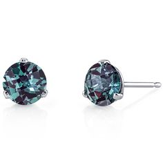 MSRP: $399.99  Our Price: $259.99  Savings: $140.00    Item Number: E18464    Availability: Usually Ships in 5 Business Days    PRODUCT DESCRIPTION:    These beautiful earrings for her feature vibrant Lab Created Alexandrite gemstones with a Color-Changing Hue and Brilliant Sparkle in 14k White Gold Round and are essential for any girl's jewelry collection. These gorgeous studs are fashioned into sleek white gold three-pronged martini settings. Fit is secure and comfortable with post-tension…