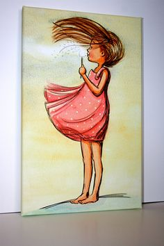 #Nursery Wall Canvas Art - Dandelion Girl - Make a Wish - Girl's room decor - Nursery