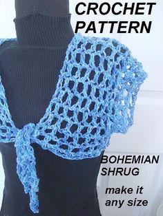 CROCHET PATTERN Shrug  num 373 Very Easy Bohemian by Hectanooga, $4.99