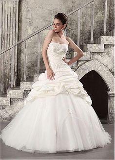 Stunning Taffeta & Tulle Ball Gown Strapless Neckline Pick-up Wedding Dress