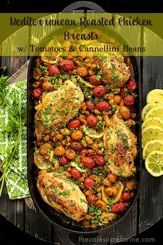 Mediterranean Roasted Chicken Breasts w/ Tomatoes & Cannelini Beans - thecafesucrefarine.com