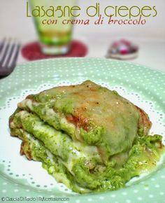 Lasagne di crepes con crema di broccolo siciliano