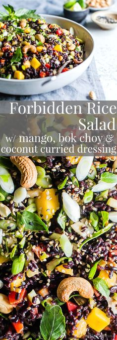 Forbidden Rice Salad with Mango, Bok Choy and Coconut Curried Dressing - #Vegetarian #Vegan #MealPrep #Salad #Lunch