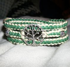 Celtic Tree of Life Wrap Hemp Bracelet - Hemp Jewelry - Green and Natural. $12.00, via Etsy.