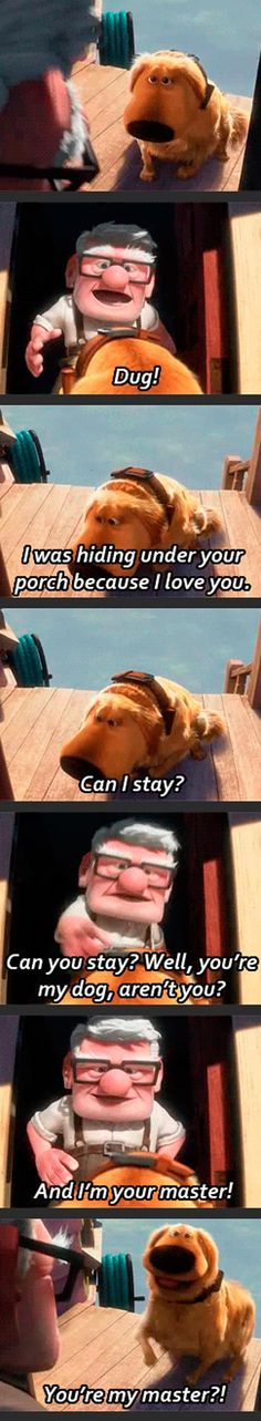 one of my favorite Disney Pixar moment Disney Up, Disney Magic, Disney Stuff, Funny Disney Memes, Disney Jokes, Funny Memes, Funny Cartoons, Disney Facts, Hilarious