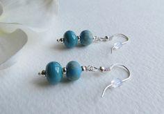 JewelryDangle  Earrings Lovely Blue Lampwork Beads by Smokeylady54