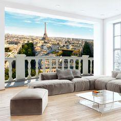 Balkon an der Wand imitieren mit Fototapete für Geräumigkeit