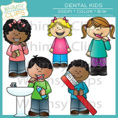 The dental kids clip art set contains 18 image files, which includes 9 color images and 9 black & white images in png and jpg. All images are 300dpi for better scaling and printing. $