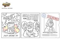 Gravity Falls Prop Design - Andy Gonsalves.com - Pitt Cola: Just Drink It!, Gold Chains for Old Men Magazine (That's a Good Issue.), and Benjamin Franklin was Secretly a Woman
