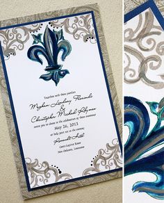 Peacock Fleur De Lis Wedding Invitation