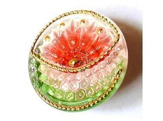 Czech glass button jewel button  handmade hand painted red and green with gold color trim