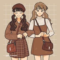 Felt like drawing these cute outfits I found online! 🐻💜 i modified some parts to my liking. I always wanted to try using shades of brown and I'm glad I did! Which fit is your favorite? Arte Do Kawaii, Kawaii Art, Cute Art Styles, Cartoon Art Styles, Arte Copic, Kleidung Design, Drawing Anime Clothes, Clothing Sketches, Art Clothing