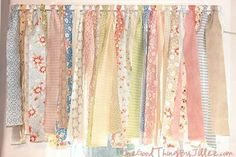 """Strips of fabric made a good """"curtain"""".  Just tie to the rod."""