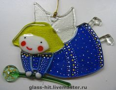 Glass Christmas Decorations, Glass Christmas Ornaments, My Glass, Glass Art, Glass Fusion Ideas, Glass Fusing Projects, Fused Glass Ornaments, Handmade Angels, Stained Glass Crafts
