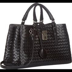 ⚡️FLASH SALE Bottega Veneta Nero Mini Roma Fully lined with soft suede.  In excellent condition.  Great interior compartments, top handle and detachable shoulder strap.  Cute for everyday or office bag.  Wide enough to fit an iPad.  Nice structured bag.  Comes with dust bag.  $1700 ️️ Bottega Veneta Bags Shoulder Bags