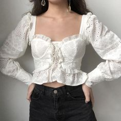 White lace up bustier riffled crop mesh blouse Asian Fashion, Look Fashion, Fashion Outfits, Fashion Goth, Pretty Outfits, Cute Outfits, Blouse Vintage, Victorian Blouse, Vintage Tops