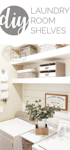 Need some laundry room organization? Inexpensive DIY shelves add a custom touch and tons of extra storage.