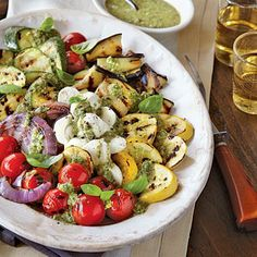 Grilled Vegetable Caprese with Pesto | CookingLight.com