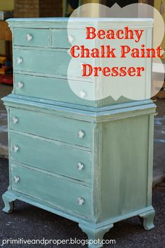 Beachy Blue Chest - Primitive and Proper ASCP Provence and Duck Egg Blue and White