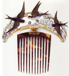 Lalique hair comb with swallows - tortoise shell, gold and enamel