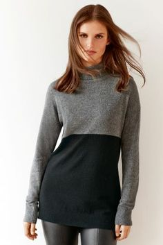 Roll Necks are a huge trend this season and this stylish two tone sweater from Next is a wardrobe essential.