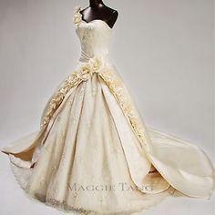 Maggie-Tang-Vintage-bal-Duchesse-Bride-mariage-robe-Custom-Made-SZ34-42