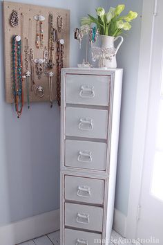 tall cabinet made from stacking the ends of a vanity...urban farmgirl: kane county flea market in St. Charles, IL
