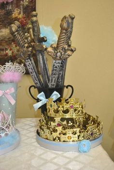 Cinderella party- swords and crowns for the princes Cinderella Party, Fairytale Birthday Party, Prince Birthday Party, 5th Birthday Party Ideas, Prince Party, Ball Birthday Parties, Disney Princess Birthday, 3rd Birthday, Birthday Crowns
