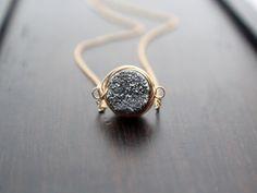 Druzy Bezel Necklace Gray Silver Druzy in 14K by SaressaDesigns, $42.00
