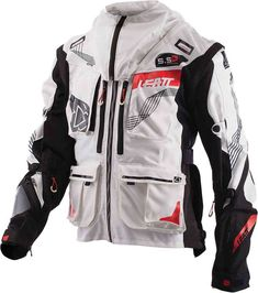 Water-Resistant, Performance GPX Enduro Off-Road Jacket in White/Black. Leatt has developed a range of high-performance GPX gear, specifically designed to suit motorsports and other powersports athletes' needs. Enfield Bike, Enfield Motorcycle, Motorcycle Style, Motorcycle Jacket, Himalayan Royal Enfield, Royal Enfield Accessories, Royal Enfield Modified, Biker Wear, Enfield Classic