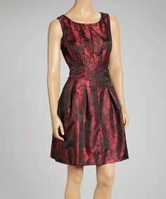 Take a look at this Black & Red Pleated Dress by Donna Ricco on #zulily today! $30 !!