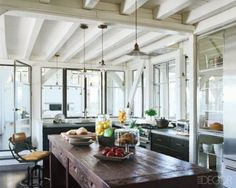 Browse Meg Ryan At Home, Elle Decor, June 2010 latest photos. View images and find out more about Meg Ryan At Home, Elle Decor, June 2010 at Getty Images. Modern Farmhouse Kitchens, Rustic Kitchen, Kitchen Dining, Open Kitchen, Country Kitchen, Kitchen Ideas, Dining Room, Nice Kitchen, Farmhouse Tabletop
