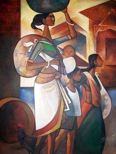 Shilpa Jadhav | Paintings by Shilpa Jadhav | Shilpa Jadhav Painting - SuchitrraArts.com Kerala Mural Painting, Buddha Painting, Indian Art Paintings, Indian Contemporary Art, India Art, Indian Artist, Acrylic Art, African Art, Lovers Art