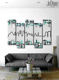 "Original Miami skyline painting. 41x64"" 5 piece canvas"