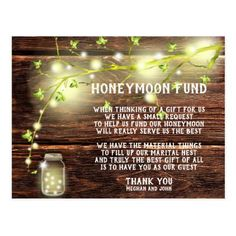 Rustic Country Mason String Lights Honeymoon Fund Postcard Honeymoon Fund, Honeymoon Gifts, Save The Date Invitations, Invitation Ideas, Invites, Outdoor And Country, Wedding Honeymoons, Beautiful Wedding Invitations, Wedding Thank You Cards