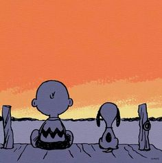 Sunset, Snoopy and Charlie Brown!
