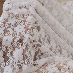 Embroidered Fabric Lace Cotton Fabric Cloth -DIY Cloth Art Manual Cloth -Embroidery Cotton Lace Gauze Daisy 55x19Inches. $7,20, via Etsy.