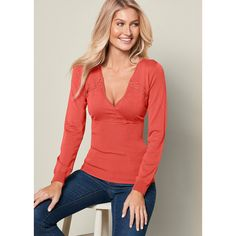 Venus Women's Lacing Detail Sweater ($20) ❤ liked on Polyvore featuring tops, sweaters, red, long sleeve sweater, red v neck sweater, v-neck sweater, lace up sweater and v neck long sleeve top