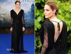 Angelina Jolie en robe noire à la soirée privé 'Maleficent'