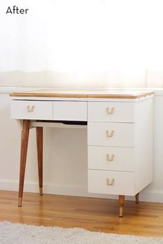 Before and After: Vintage Sewing Table Turned Vanity