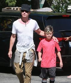 Gavin Rossdale takes his son Kingston to his soccer game on April 12, 2015