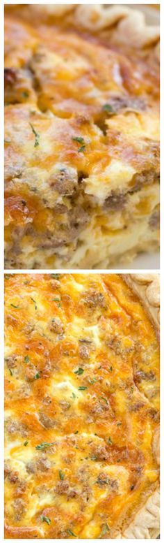 Sausage and Ranch Quiche ~ So quick and easy... Pie crust, sausage, ranch dressing, cheddar cheese, heavy cream, eggs, and pepper. Ready to eat in an hour - Great for breakfast, lunch or dinner. THE BEST!