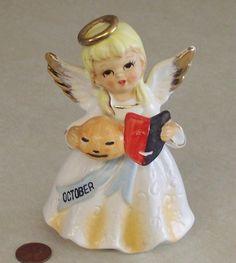 VTG JAPAN October HALLOWEEN Birthday ANGEL w JACK O LANTERN & MASK Figurine | eBay