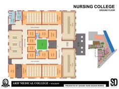 Medical College and Hospital Complex Interior Design And Construction, Construction Services, College Nursing, Medical College, School Architecture, Interior Architecture, Plan Design, Building Design, Floor Plans
