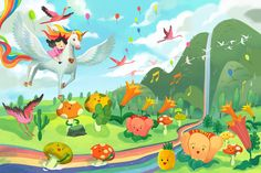 Rainbow Land • Vincom • Children's Day Illustration on Student Show Unicorn Wings, Photoshop 4, Drawn Fish, How To Make Animations, Children's Book Illustration, Illustrations, Child Day, Book Projects, Pikachu