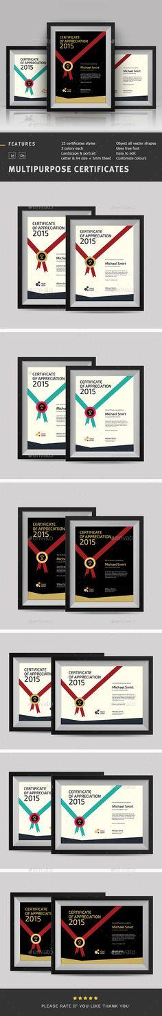 Multipurpose Certificates Template PSD, INDD. Download here: http://graphicriver.net/item/multipurpose-certificates/11664978?ref=ksioks