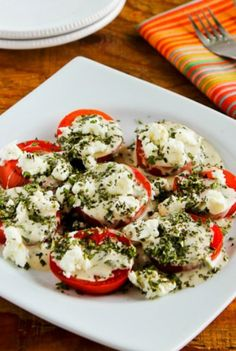 This Summer Tomato Salad with Goat Cheese Basil Vinaigrette and Fresh Herbs has been a favorite for over 20 years! Tomato Salad Recipes, Herb Recipes, Healthy Salad Recipes, Healthy Food, Yummy Food, Healthy Eating, Keeping Healthy, Healthy Sides, Healthy Treats