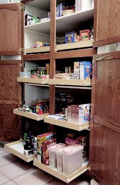 Kitchen storage shelf sliders