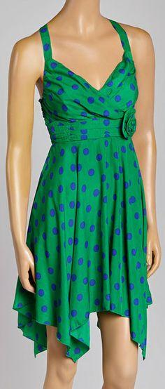 Green Polka Dot Rosette Summer dress.